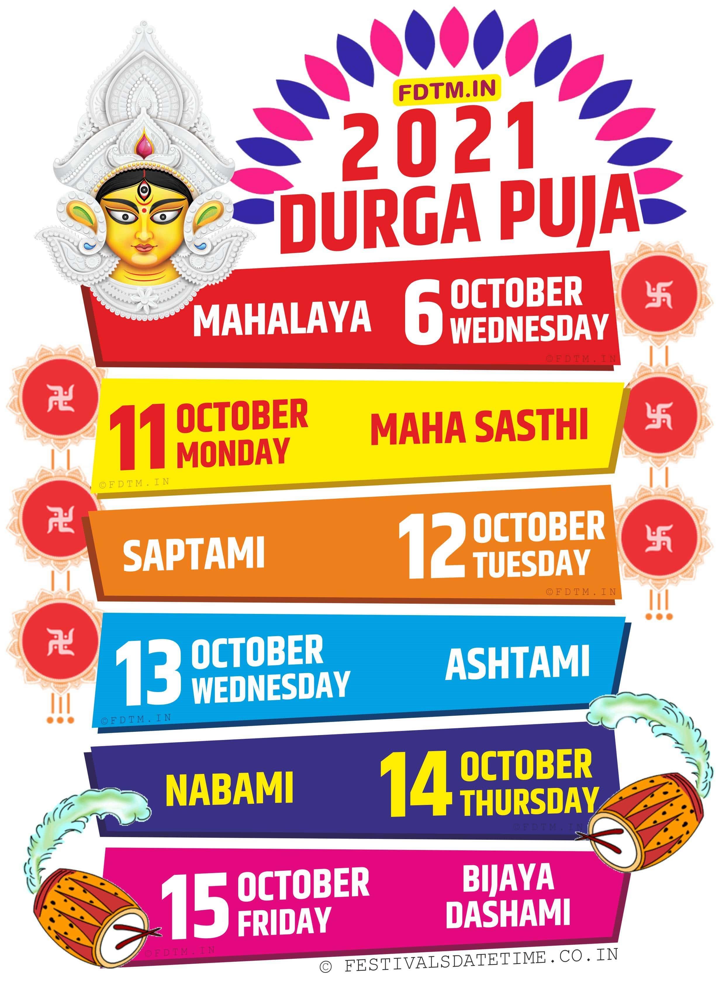 2021 Durga Puja Date and Time Schedule, 2021 Durga Puja in Kolkata