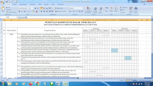 Contoh Format Terbaru Pemetaan KD Kelas 1 Mapel PJOK SD K13