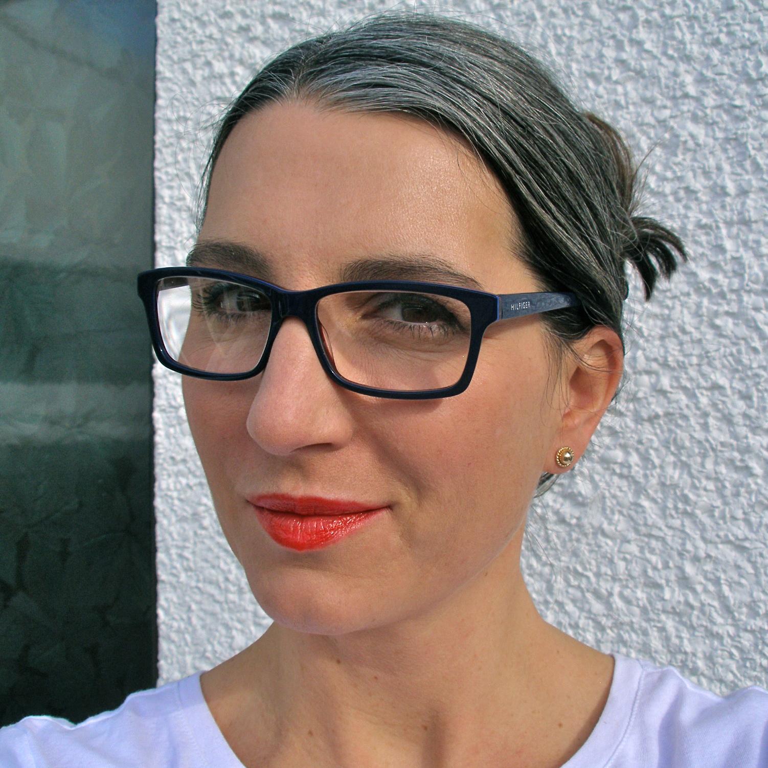 Orange Lipstick Gray Hair