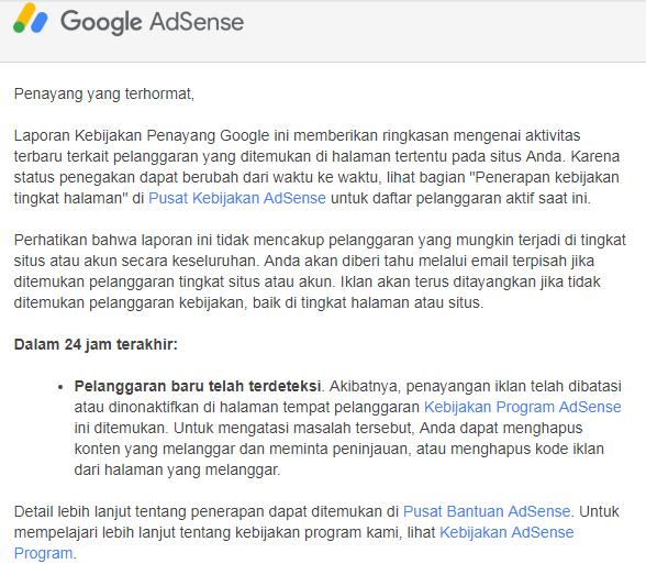 email pelanggaran dari adsense