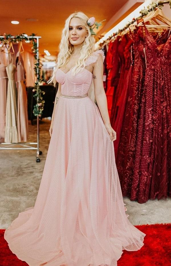 vestido longo rose para madrinha de casamento