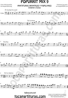 Mix 9 Partitura de Violonchelo Chelo El Cocherito Leré, En la Nieve, Pin Pon, En tu Camino Popurrí Mix 9 Sheet Music for Cello Music Scores