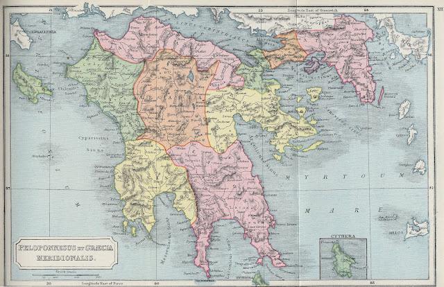 Mapa del Peloponeso