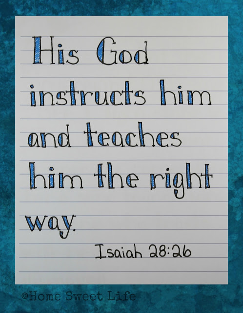 Scripture Writing, Isaiah 28:26, hand lettering