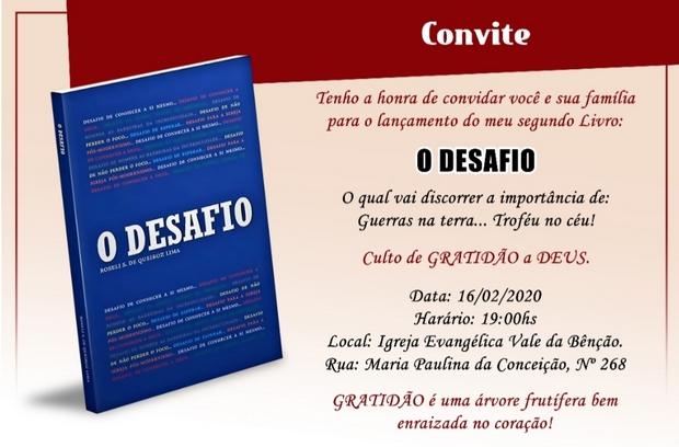 Escritora de Santa Cruz do Capibaribe fará lançamento do seu segundo livro