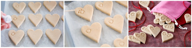 Stamping paw prints on heart shaped homemade dog treats