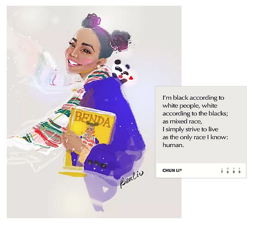 Portrait, fashion illustration of mix race girl, black girl, afro hairstyle, Chunli hairstyle, wearing purple oversize coat, plaid white scarf, with panda Benda,