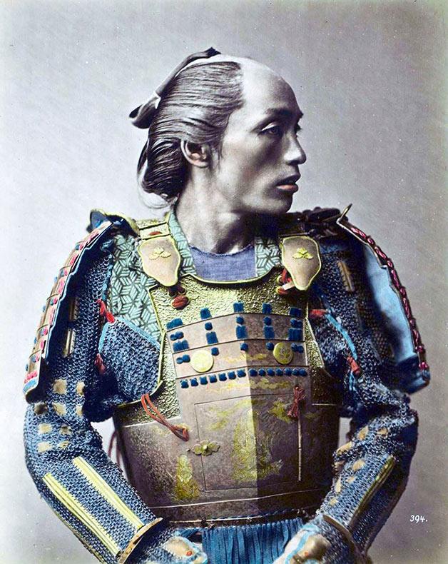 El último samurai: Raras fotos de colores de los últimos Samuráis japonés en el 1800