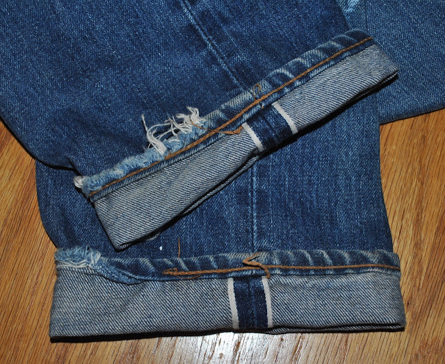 Vintage Levis 505 Hem area showing Selvedge on inside out-seam