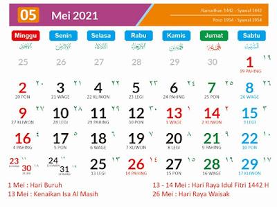 Kalender 2021 Masehi Mei