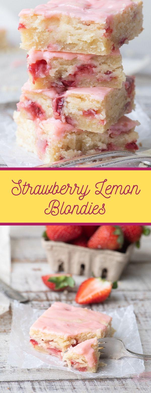 Strawberry Lemon Blondies #strawberry #easy #easyrecipes