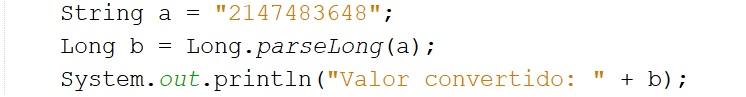 variable String a Long en Java