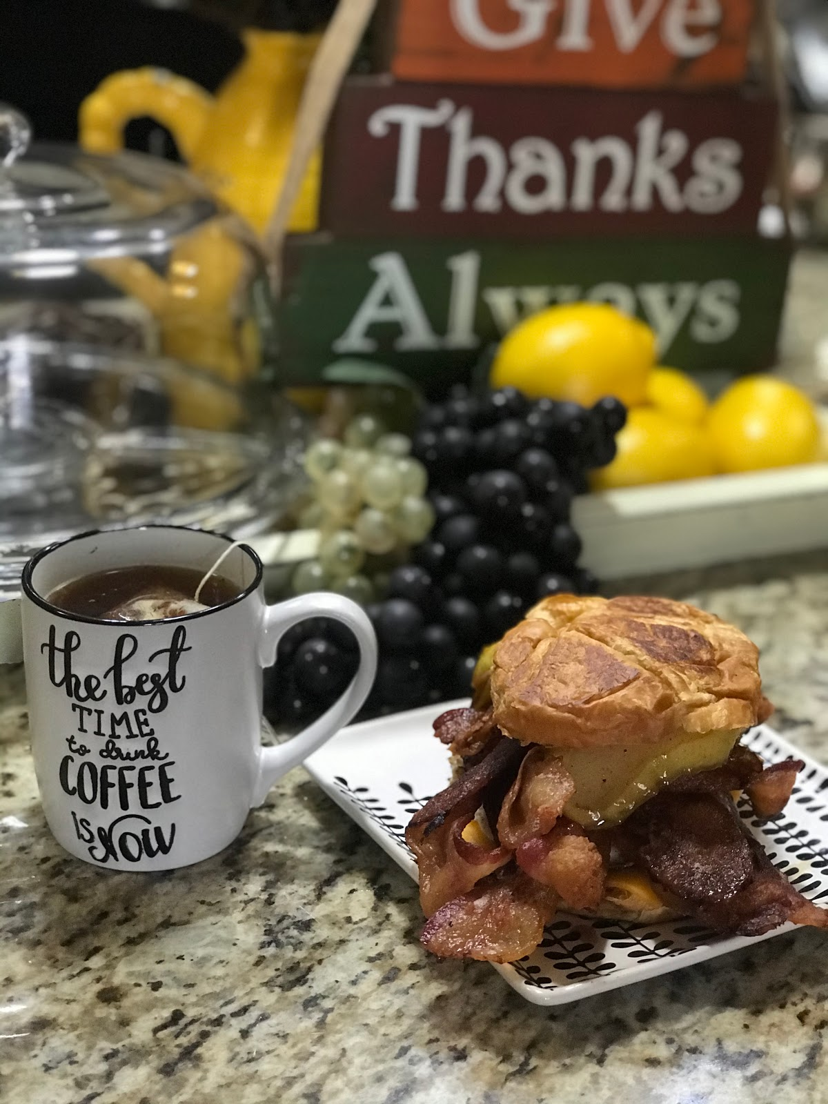 Tangie Bell is sharing her country bunking breakfast that is filled with pears, bacon, egg and cheese