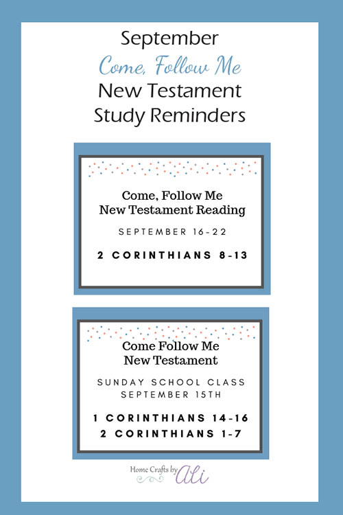 New Testament study and reading for September using the Come, Follow Me book