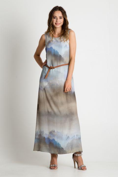 Popielata sukienka maxi z paskiem