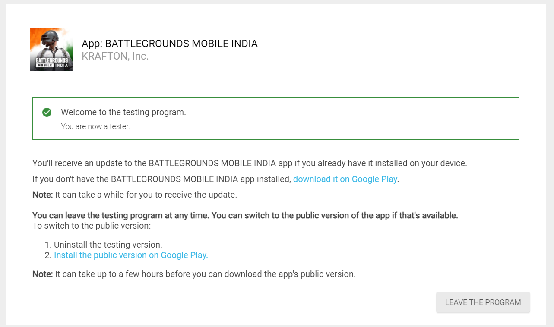 Battlegrounds Mobile India beta tester