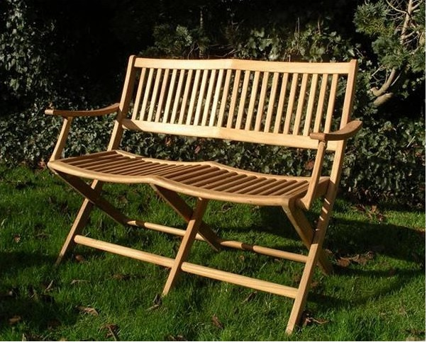 Henley folding teak bench