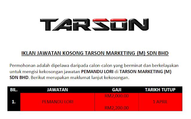 Jawatan Kosong Di Tarson Marketing M Sdn Bhd Mingguan Jawatan