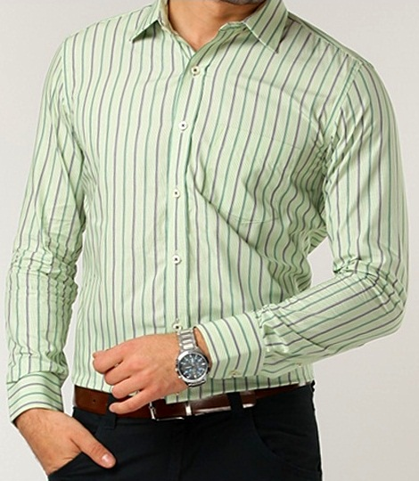 Genesis Full Sleeves Colored Stripes Green Formal Men's Shirt