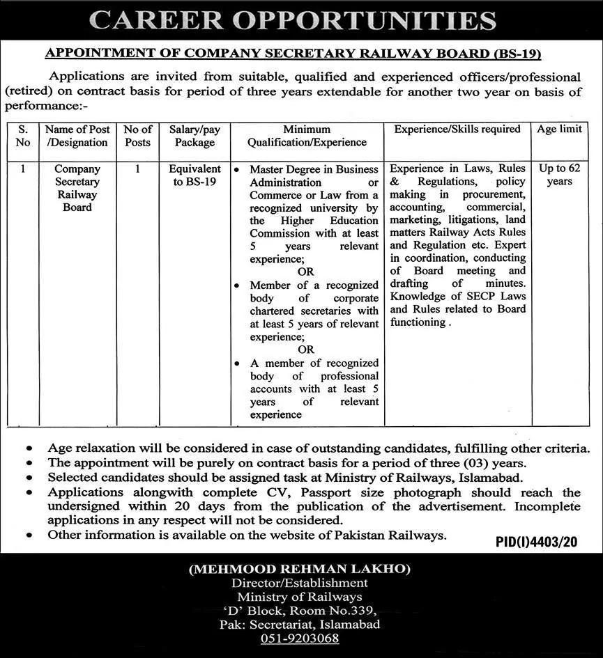 Ministry of Railways Jobs 2021 - Railway Board Jobs 2021