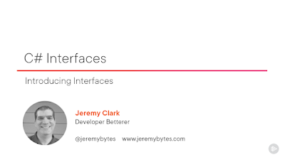 """""""C# Interfaces"""" title slide with a photo of the author, Jeremy Clark"""