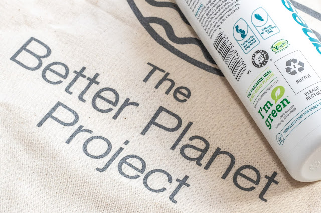 "A fabric bag saying The better planet project next to part of a plastic BetterYou magnesium cream which has a logo saying ""I'm green"" to indicate it comes from plant polymers"