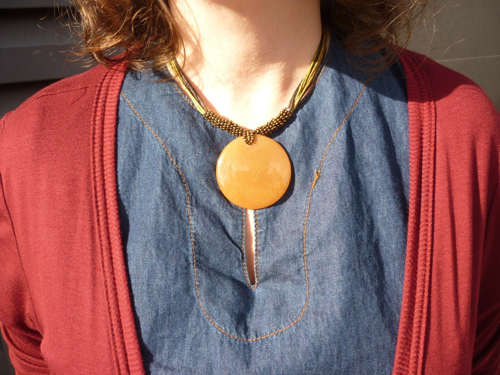 Brown Circle Disc Necklace, Denim Shift Dress | Petite Silver Vixen