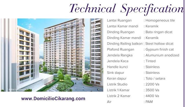 Spesifikasi bangunan apartemen Domicilio Cikarang
