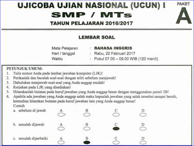 ini merupakan file terbaru yang berisi contoh soal latihan Ujian Nasional  Soal Try Out (TO) UN/UNBK SMP/MTS Bahasa Inggris 2017/2018