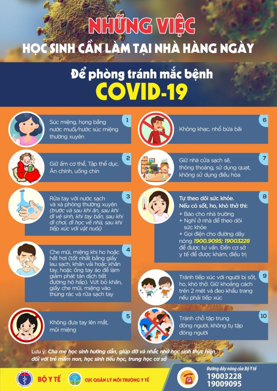 Học sinh tại nhà cần làm gì để phòng chống COVID-19
