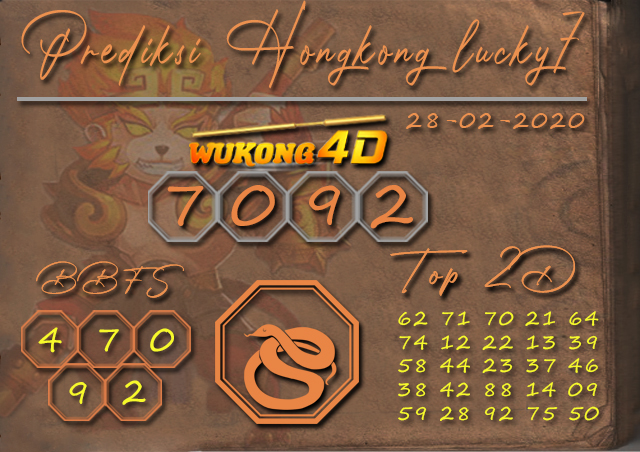 Prediksi Togel HONGKONG LUCKY 7 WUKONG4D 28 FEBRUARI 2020