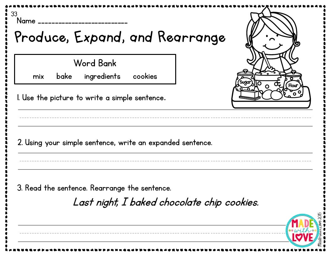 Simple Worksheets On How To Write A Sentence [ 816 x 1056 Pixel ]