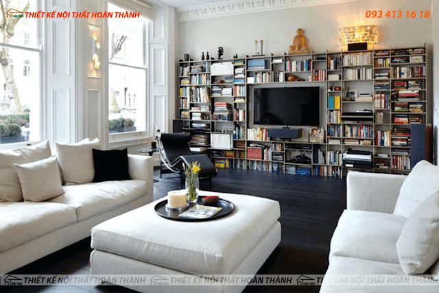 Mẫu nội thất phòng khách dành riêng cho dân mê sách với kệ TV bằng ván ép