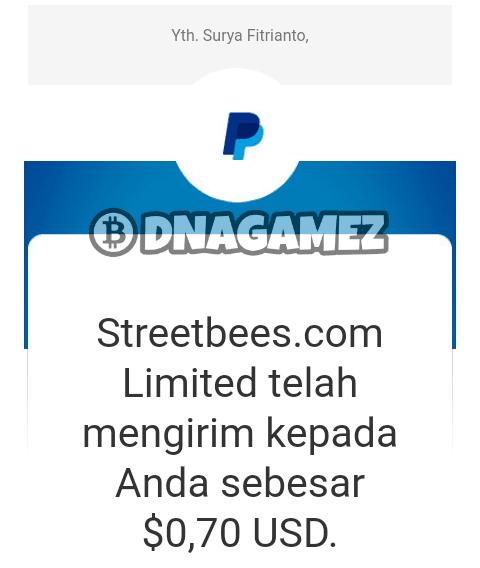 Berikut ini adalah screenshoot bukti Withdraw / Pembayaran dari aplikasi Streetbees: