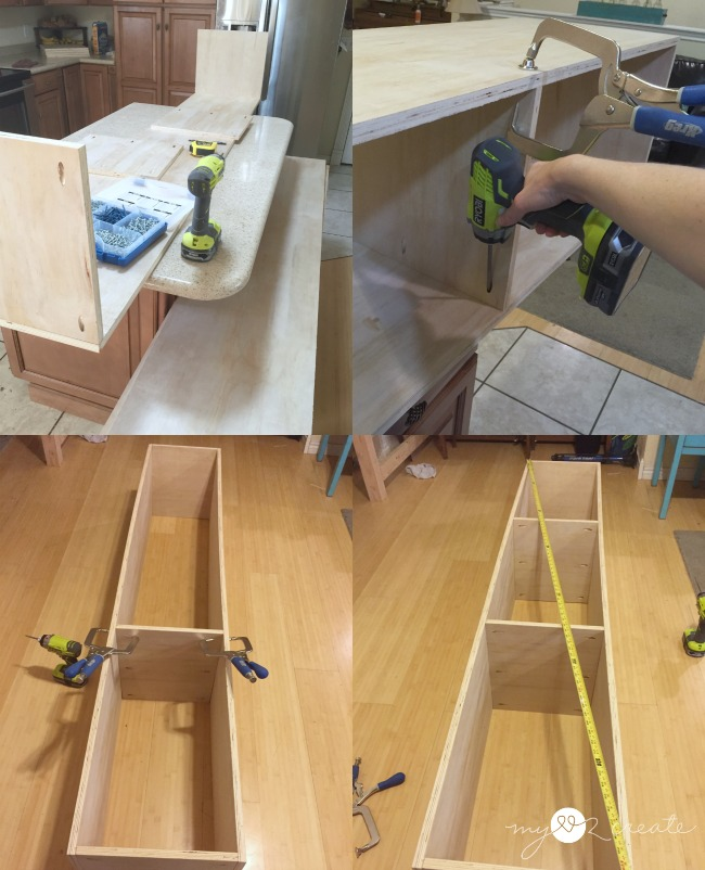 building storage boxes using right angle clamps