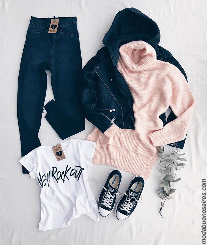 Polera tejida rosa delicada precios 2019. Moda invierno 2019 mujer argentina. Pantalones de jeans, babuchas, buzos, sweaters, sacos tejidos, remeras, ropa de mujer 2019 con precios argentina.