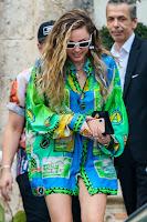 Miley Cyrus in Green Shirt Dress at miami beach