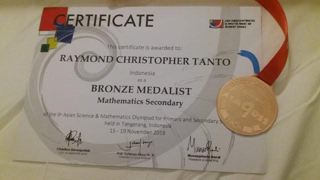 Raymond, Siswa SMP KK, Raih Bronze Medal ASMOPSS 2019
