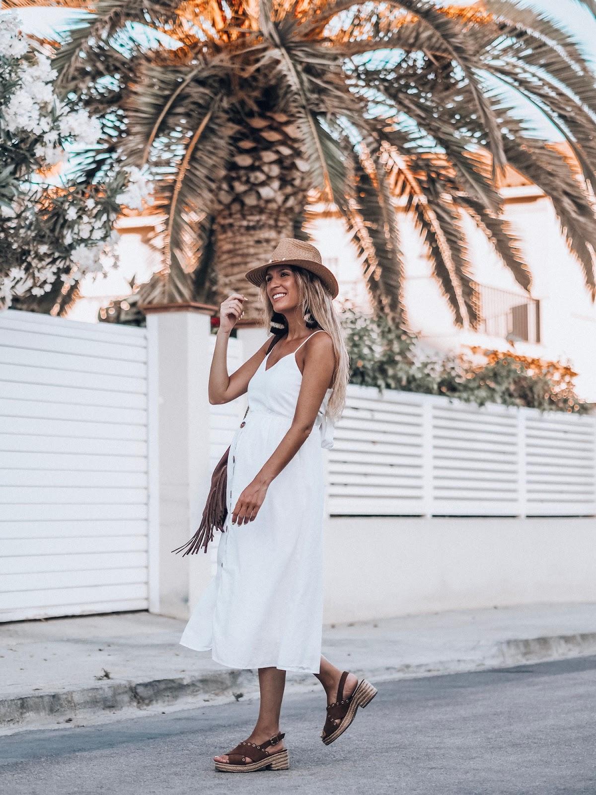 como llevar vestido blanco midi