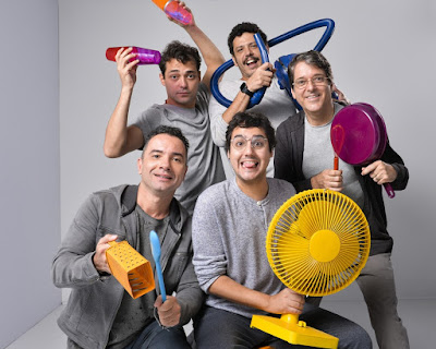 A galera do humor: Marco Luque, George Sauma, Eduardo Sterblitch, Rafael Queiroga e Antonio Fragoso — Foto: Fábio Rocha/ TV Globo