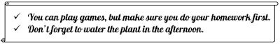 peringatan sederhana tertulis di atas media kertas