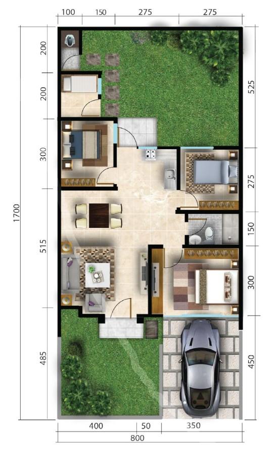 Lingkar Warna Denah Rumah Minimalis Ukuran 8x17 Meter 4 Kamar Tidur 1 Lantai Tampak Depan