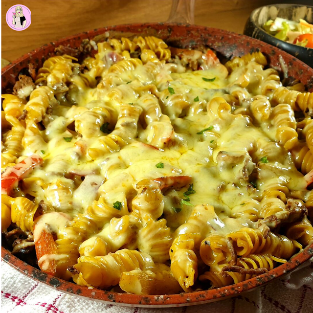 Philadelphia Cheesesteak Pasta Bake Recipe