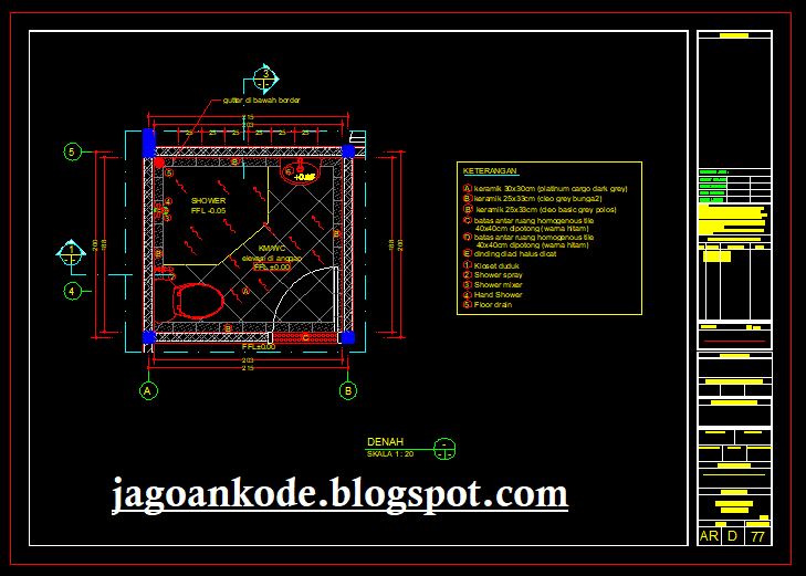 Desain Rumah 2 Lantai Dwg  denah kamar mandi wc 2m x 2m gambar autocad dwg jagoan kode