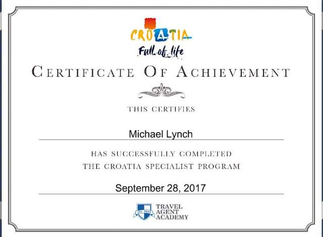 Croatia Specialist, certificate, Travel Agent Academy