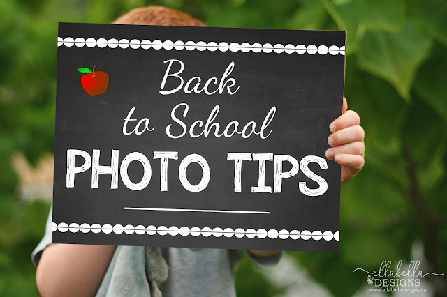 Boy Holding Back to School Photo Tips Sign