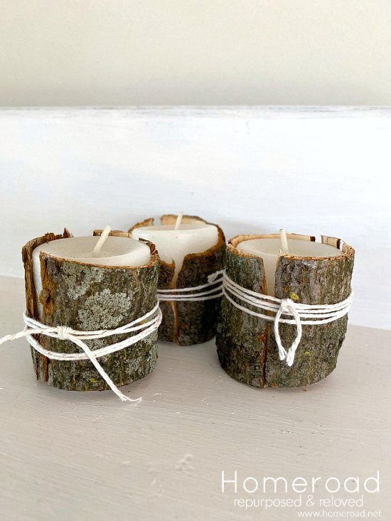 Decorative Tree Bark Wrapped Candles