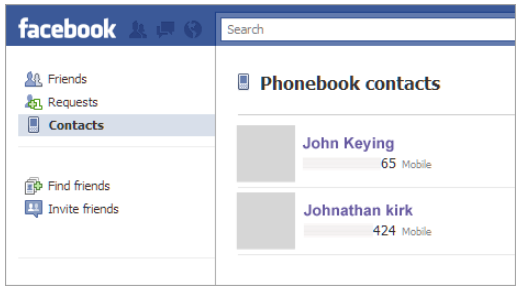 Facebook friend search by phone no