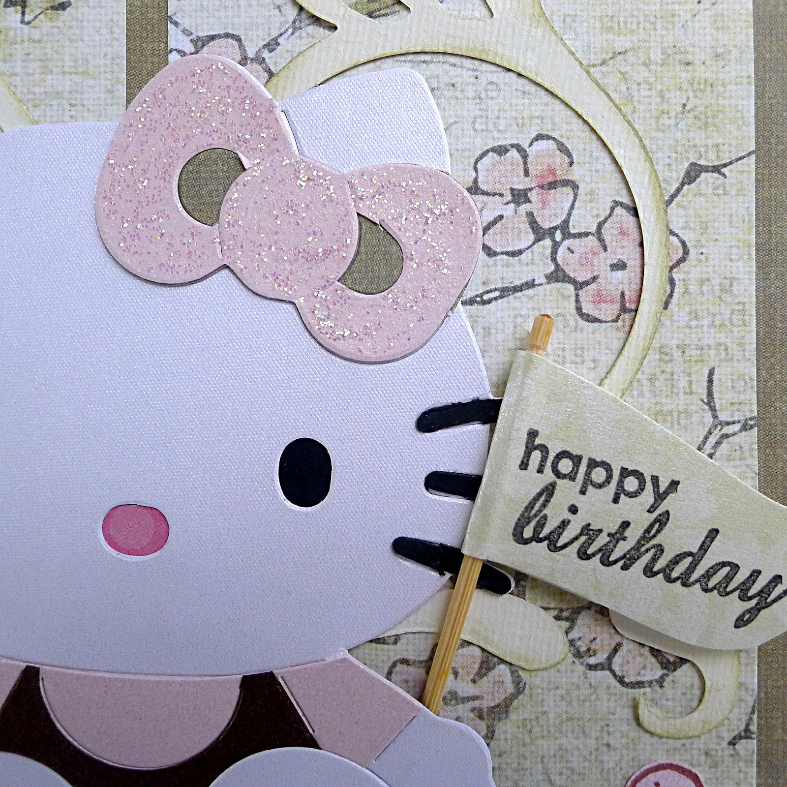 Hello kitty scrapbook ideas - Kitty Is Holding Flag Stamped With Happy Birthday The Stick Is Actually A Toothpick I Have In The Kitchen