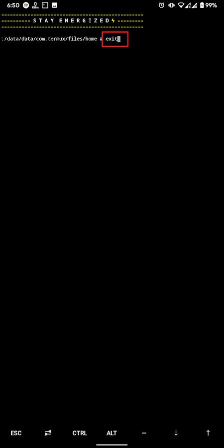 Cara keluar dari terminal mode root